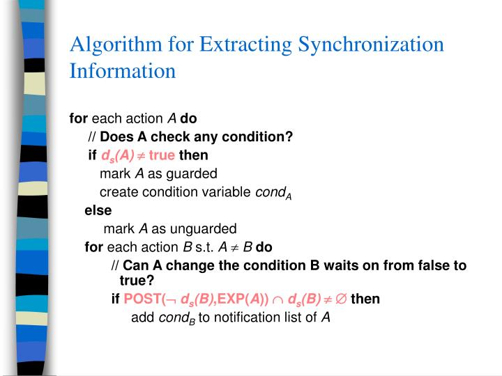Algorithm for Extracting Synchronization Information