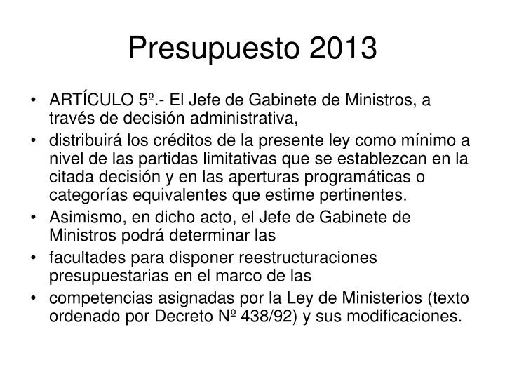 Presupuesto 2013