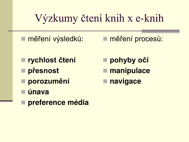V zkumy ten knih x e knih