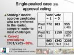 single peaked case 6 6 approval voting