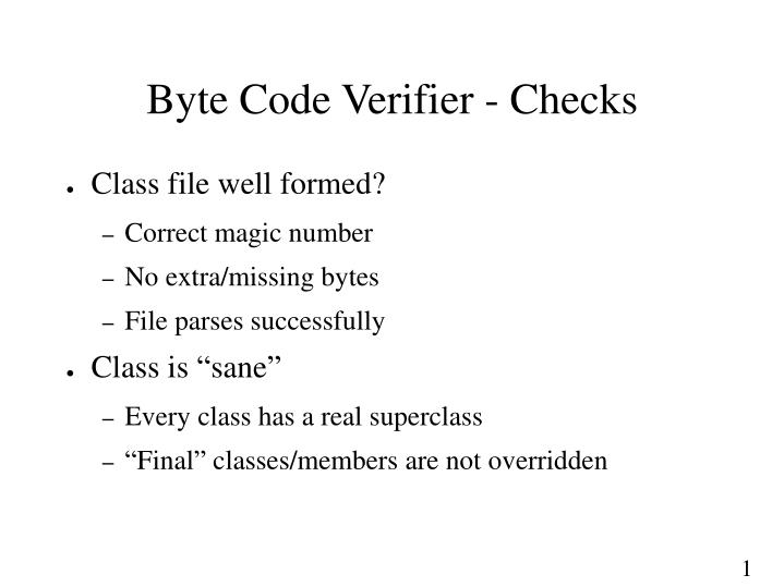 Byte Code Verifier - Checks