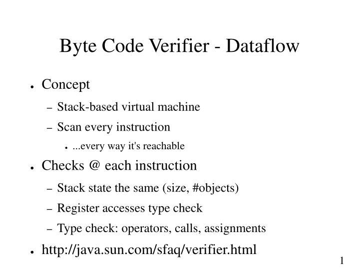 Byte Code Verifier - Dataflow