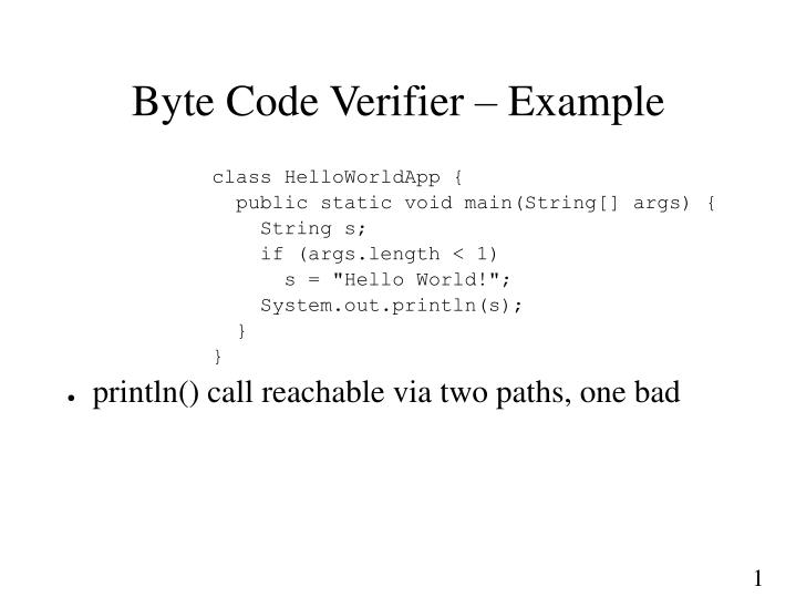 Byte Code Verifier – Example
