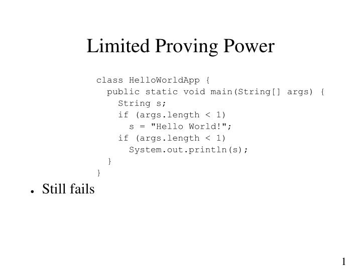 Limited Proving Power