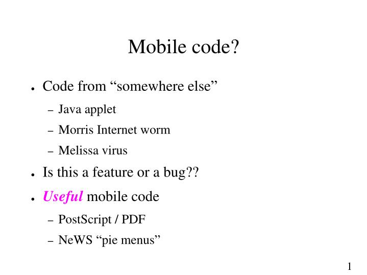 Mobile code?