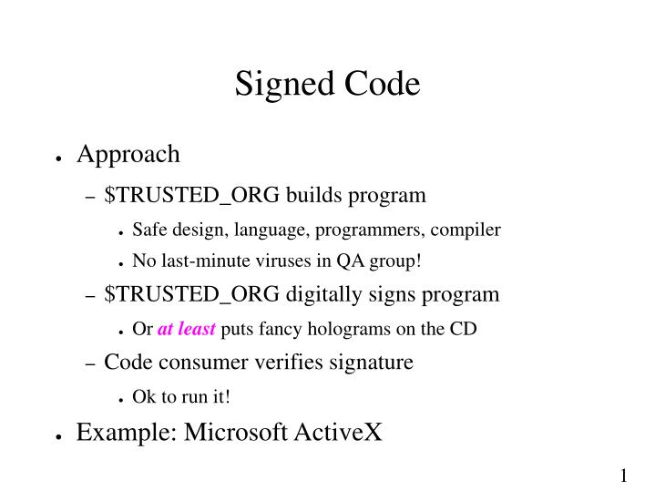 Signed Code