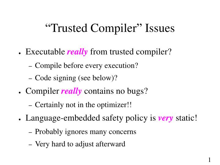 """Trusted Compiler"" Issues"