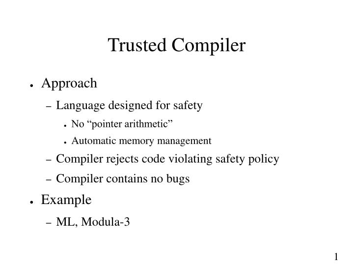 Trusted Compiler