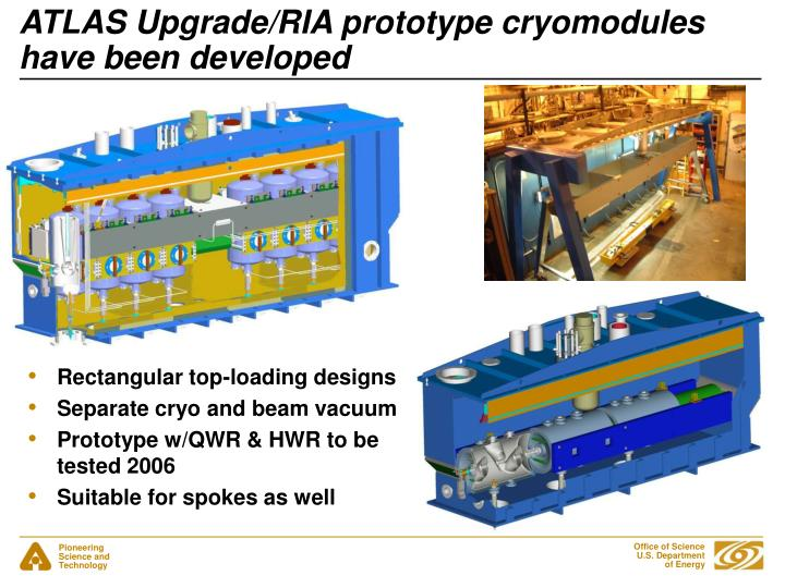 ATLAS Upgrade/RIA prototype cryomodules have been developed