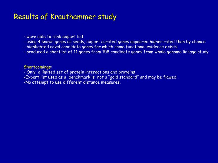 Results of Krauthammer study