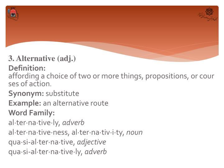 3. Alternative (adj.)