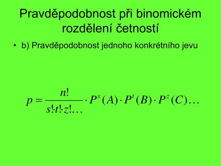 Pravděpodobnost při binomickém rozdělení četností