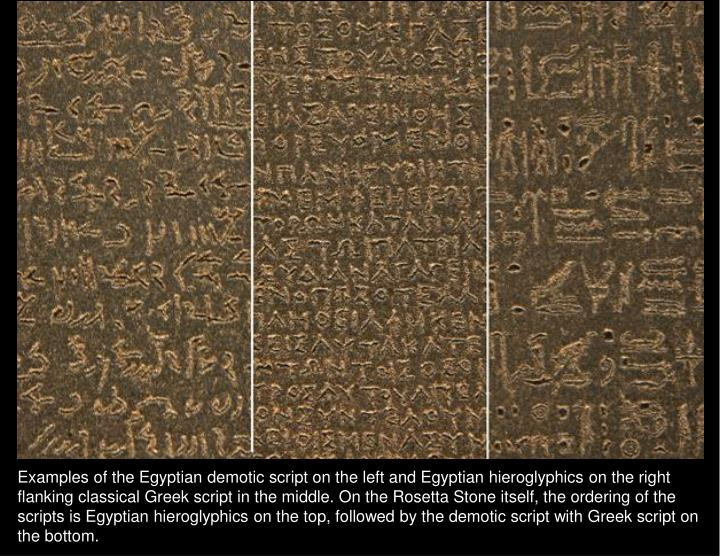 Examples of the Egyptian demotic script on the left and Egyptian hieroglyphics on the right flanking classical Greek script in the middle. On the Rosetta Stone itself, the ordering of the scripts is Egyptian hieroglyphics on the top, followed by the demotic script with Greek script on the bottom.