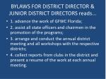 bylaws for district director junior district directors reads