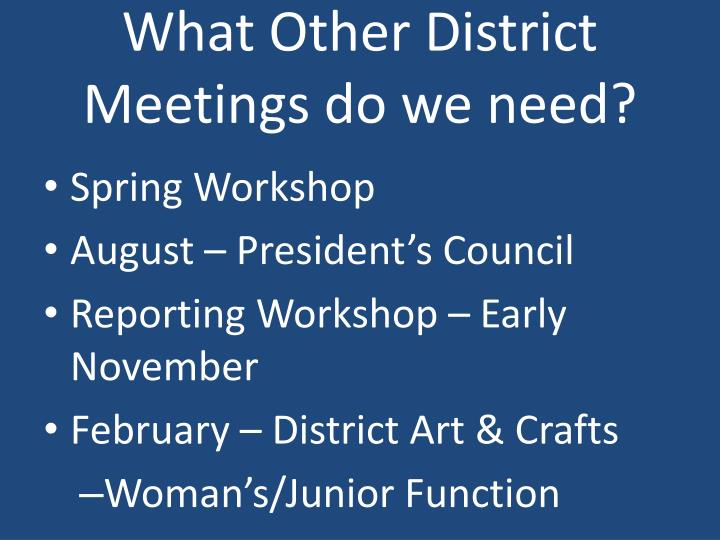 What Other District Meetings do we need?