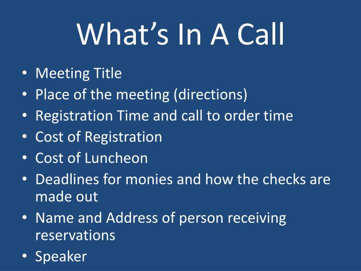 What's In A Call