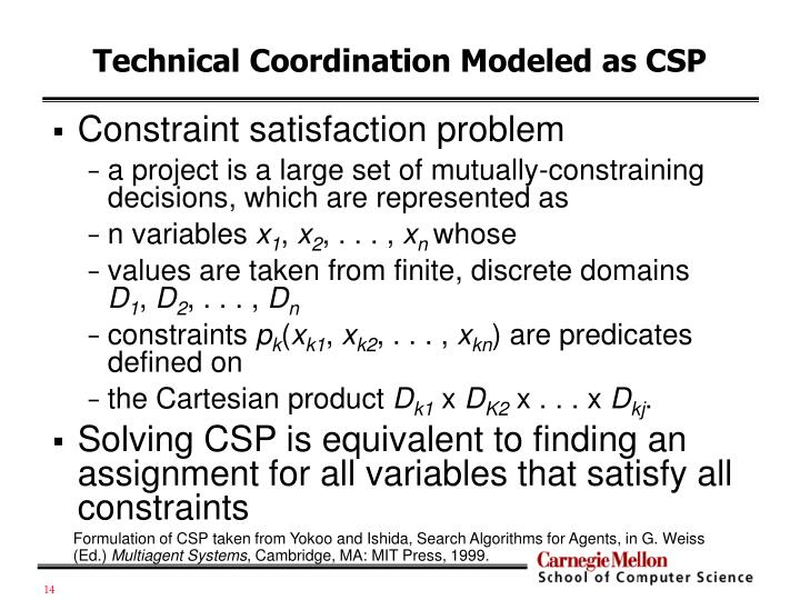 Technical Coordination Modeled as CSP