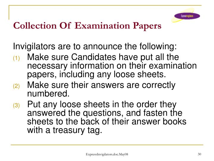 Collection Of Examination Papers