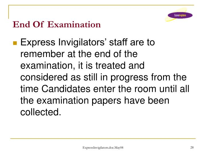 End Of Examination