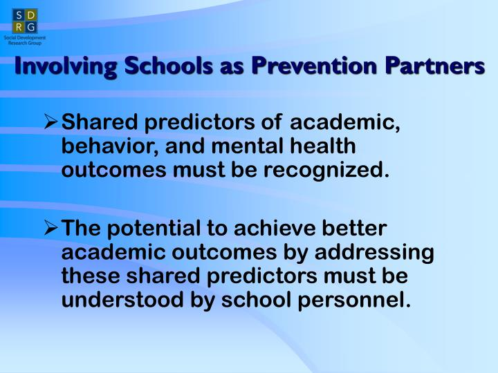 Involving Schools as Prevention Partners
