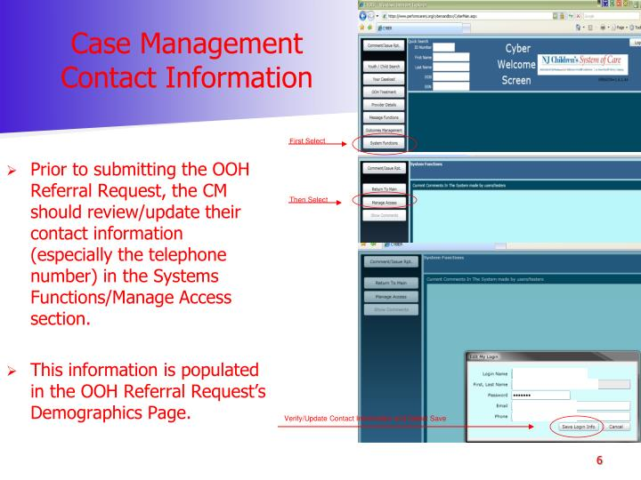 Case Management Contact Information