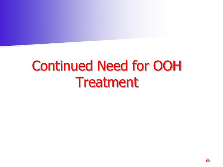 Continued Need for OOH Treatment