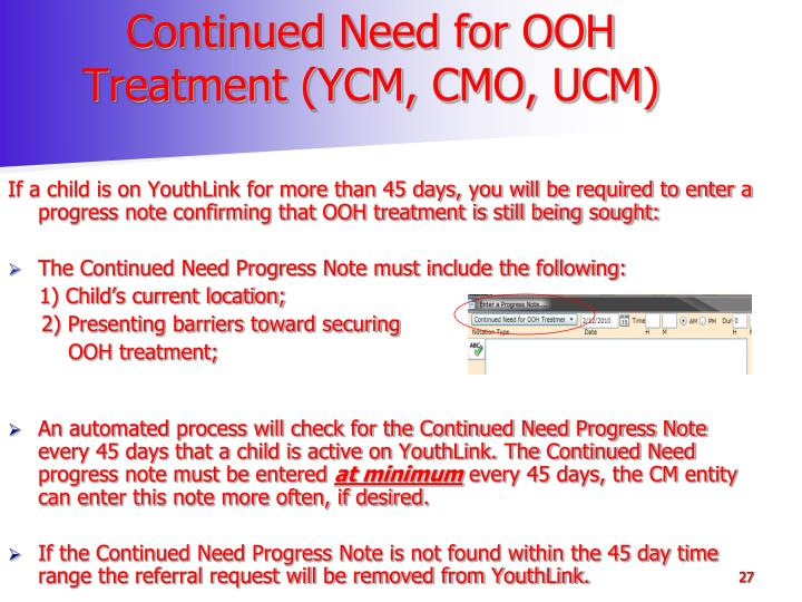 Continued Need for OOH Treatment (YCM, CMO, UCM)