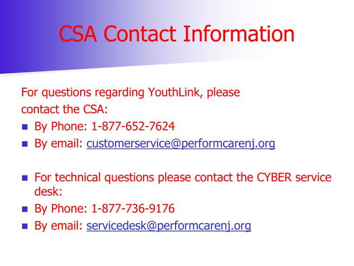 CSA Contact Information