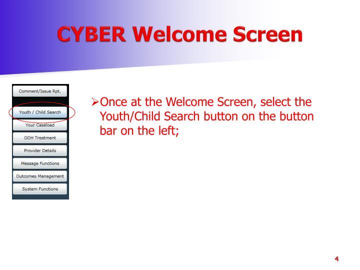 CYBER Welcome Screen