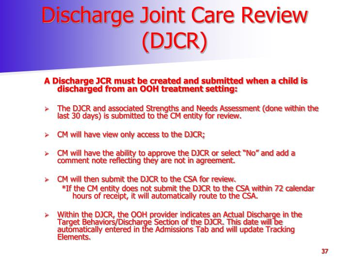 Discharge Joint Care Review (DJCR)