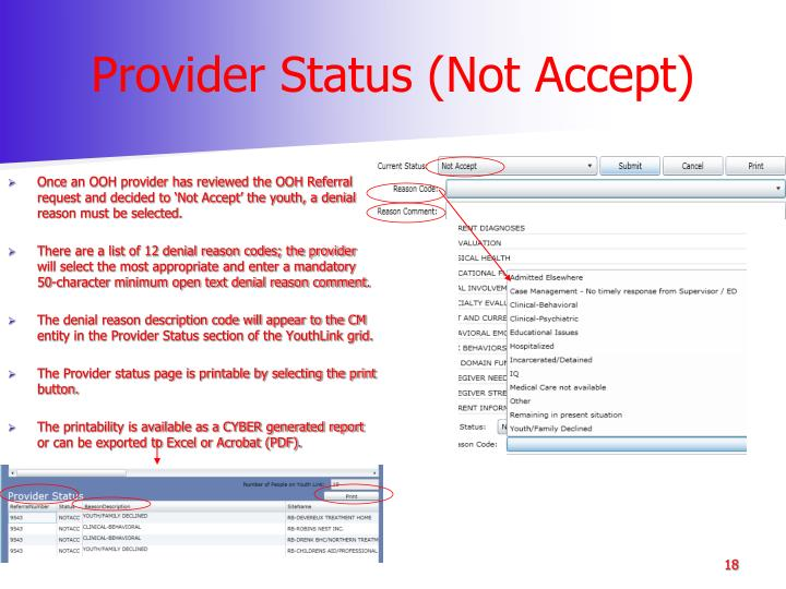 Provider Status (Not Accept)