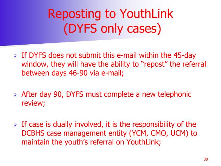 Reposting to YouthLink