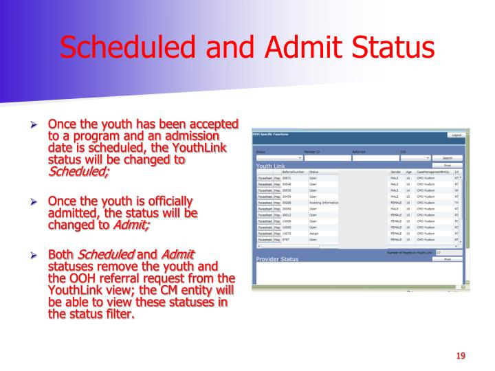 Scheduled and Admit Status