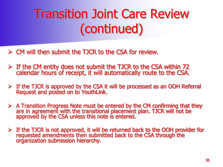 Transition Joint Care Review