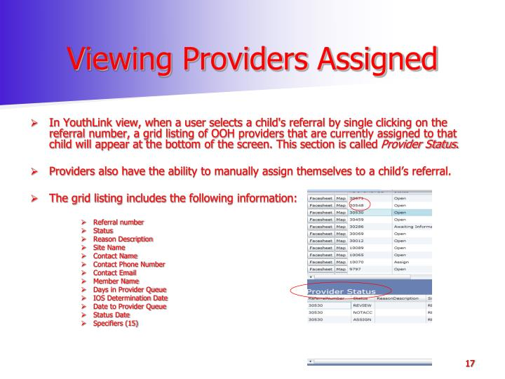 Viewing Providers Assigned