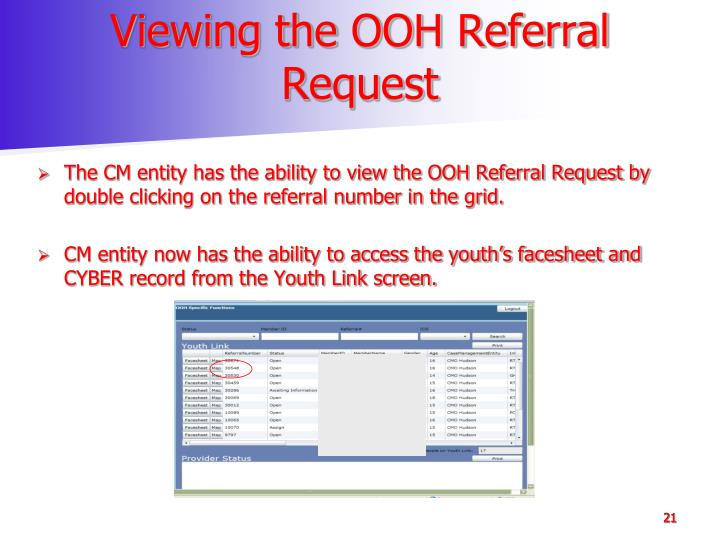 Viewing the OOH Referral Request
