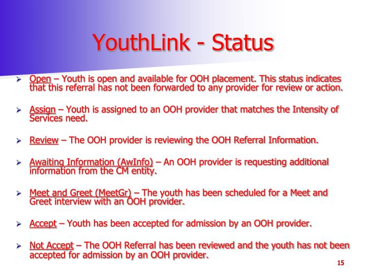 YouthLink - Status
