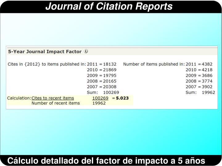 Cálculo detallado del factor de impacto a 5 años