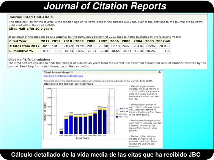Cálculo detallado de la vida media de las citas que ha recibido JBC