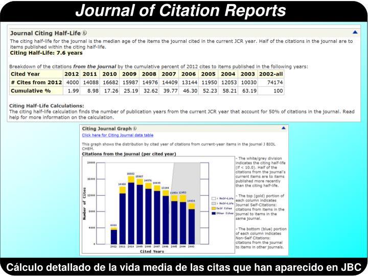 Cálculo detallado de la vida media de las citas que han aparecido en JBC
