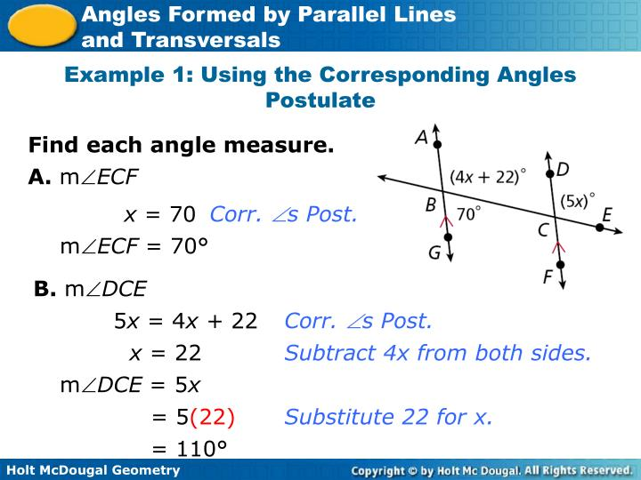Example 1: Using the Corresponding Angles Postulate