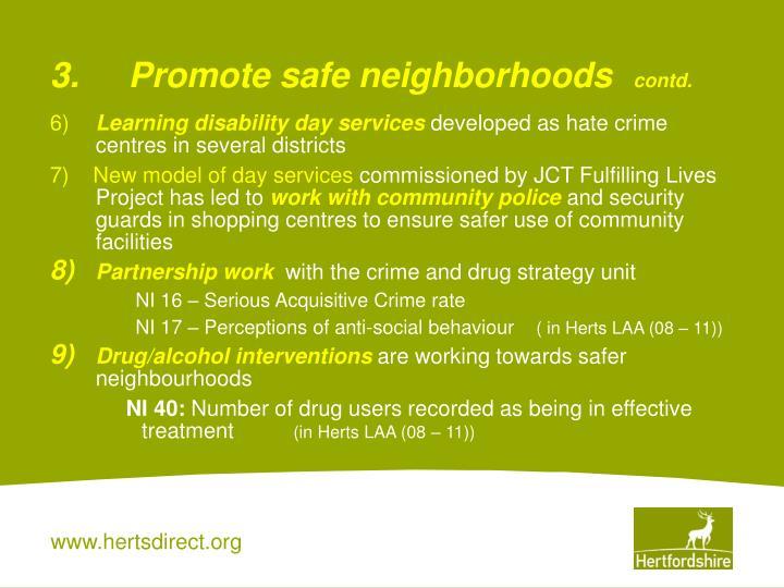 3.Promote safe neighborhoods