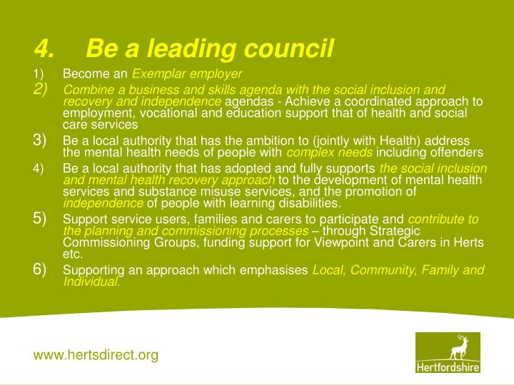 4.Be a leading council