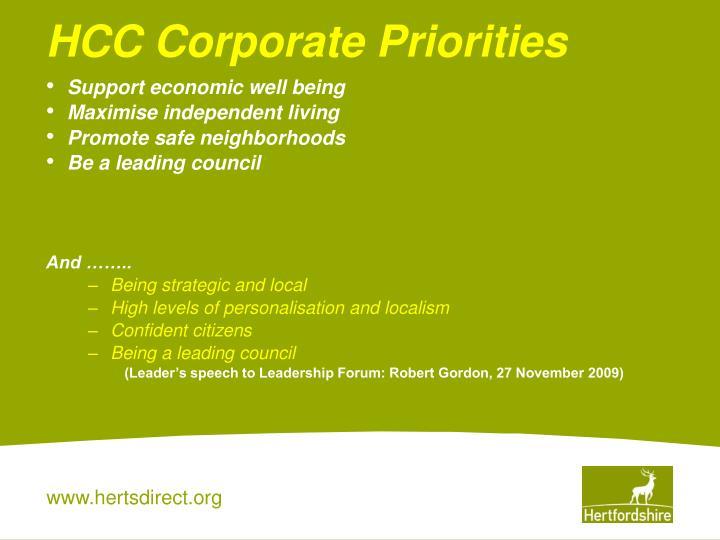 HCC Corporate Priorities