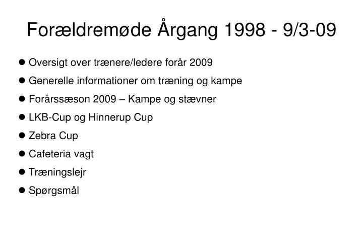 Forældremøde Årgang 1998 - 9/3-09