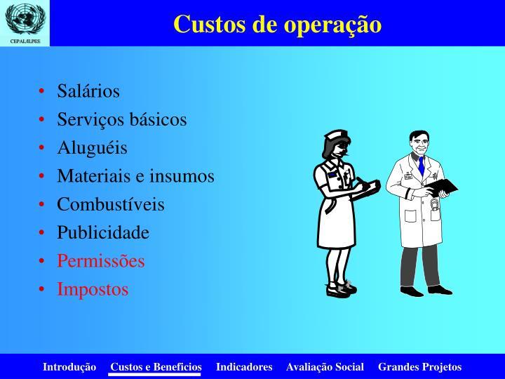 Custos de operação