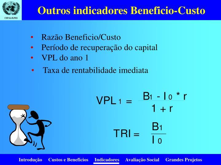 Outros indicadores Beneficio-Custo