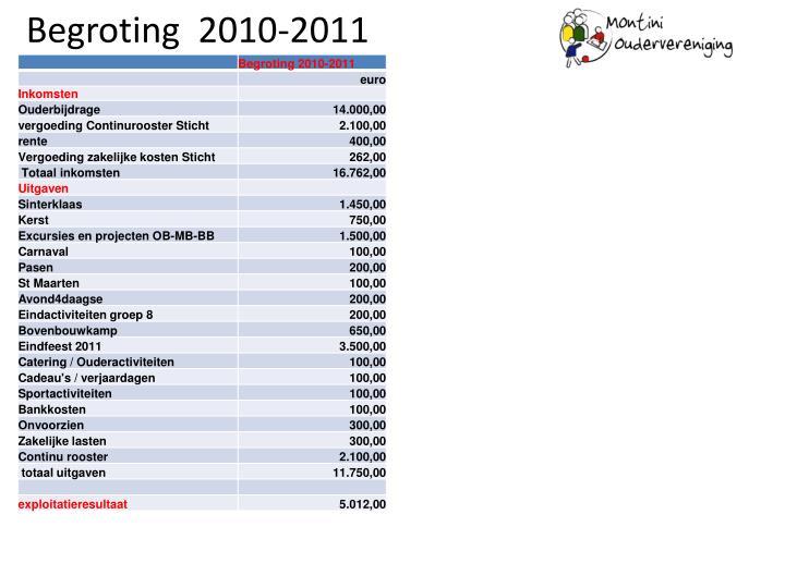 Begroting  2010-2011
