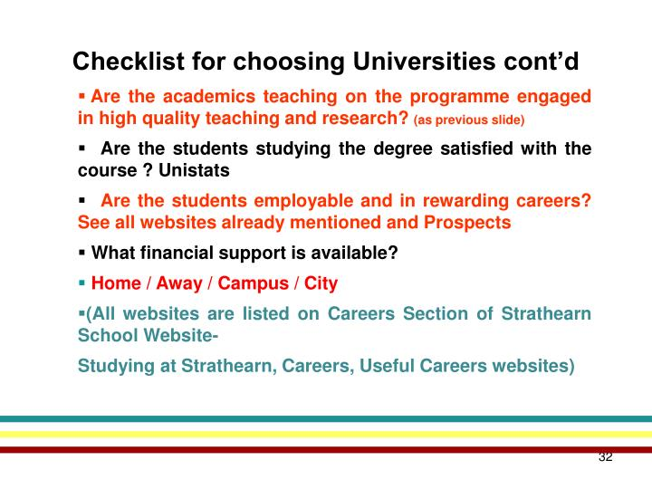 Checklist for choosing Universities cont'd