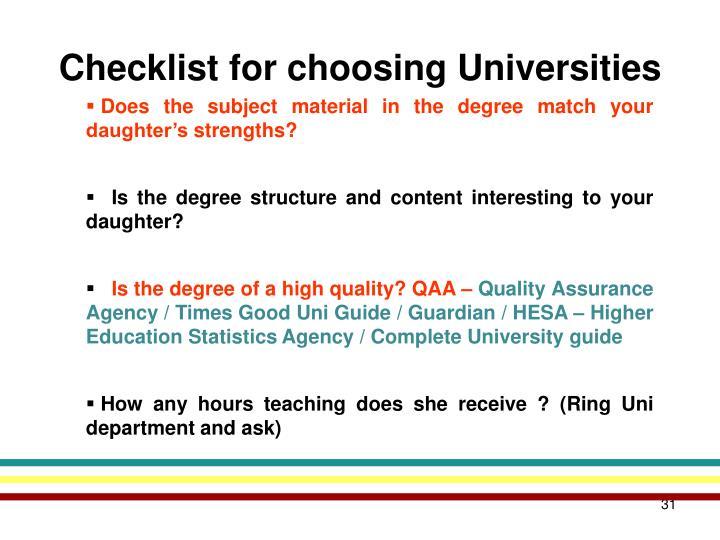 Checklist for choosing Universities